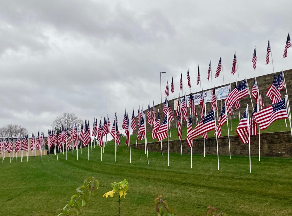 American Flags for Veterans by Harvey Taylor Bridge Bypass
