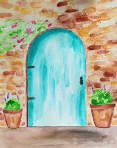 Watercolor Painting of brick wall and blue door - Allie Lombardi