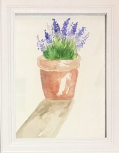 Watercolor painting of purple flowers in a pot - Allie Lombardi