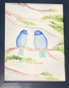 Watercolor painting of 2 blue birds - Allie Lombardi