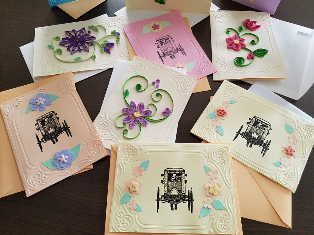 Beautiful hand decorated care cards for Homeland Hospice