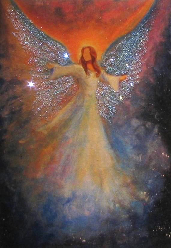 Painted Angel with a galaxy and sparkles